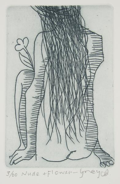 Charles Blackman 'Nude and Flower - Grey' - original etching