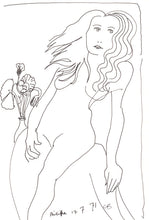 Load image into Gallery viewer, Charles Blackman 'Philippa & Flowers - 1971, Paris, ink on paper