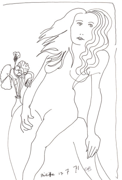 Charles Blackman 'Philippa & Flowers - 1971, Paris, ink on paper