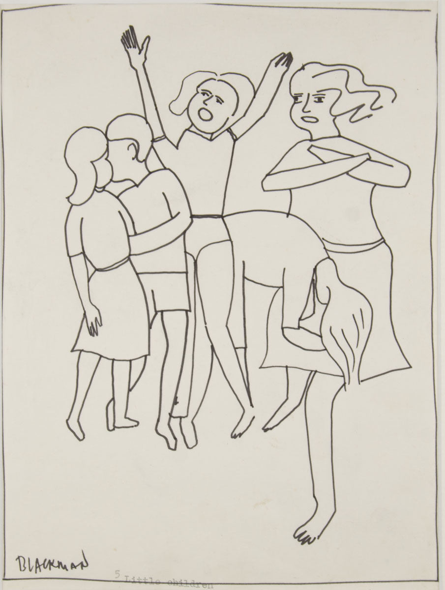 Charles Blackman 'Five Little Children' - ink on paper