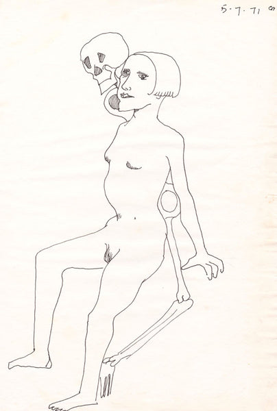 Charles Blackman 'The Muse II' - ink on paper