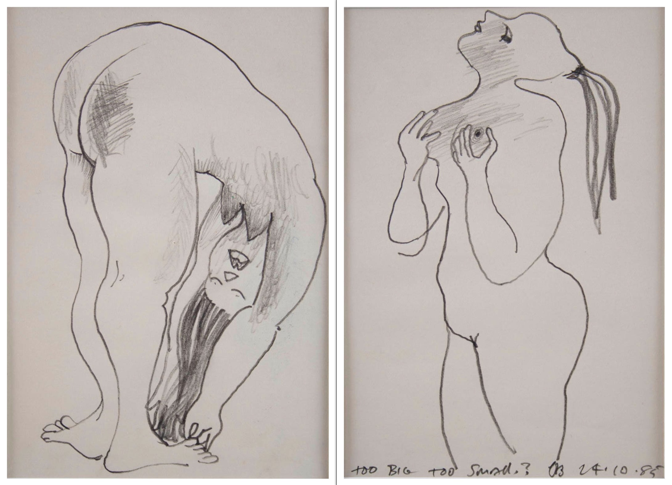 Charles Blackman 'Too Big Too Small - two original drawings'
