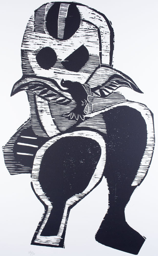 Yvonne Boag 'Bird in Landscape' - woodcut on paper