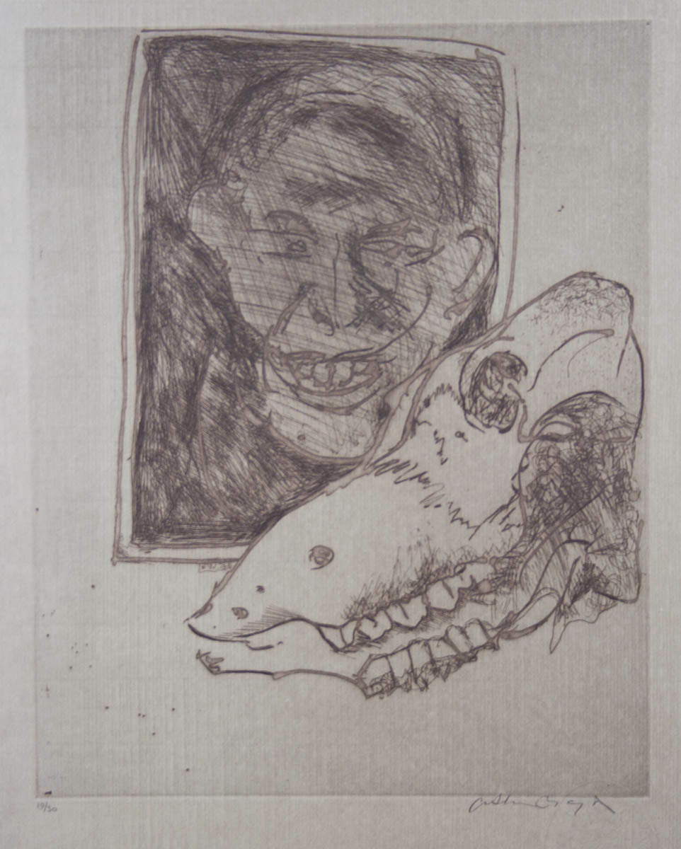 Arthur Boyd 'Untitled (Portrait and Skull) '