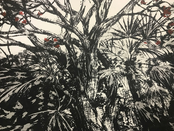 Lucinda Boyd 'Black Treescape with Red Leaves' - screenprint on paper