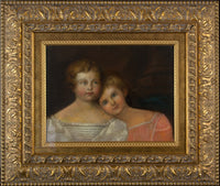 19th Century Oil Painting  'Sisters' - oil on board