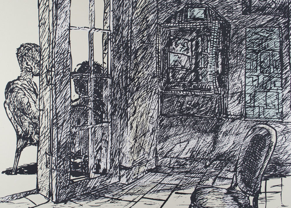 Kevin Connor 'Interior Scene in Shadow' - screenprint on paper