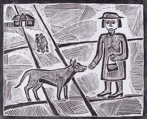 L D Croblickon 'Woman with dog' - linocut on paper