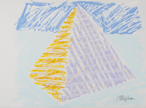 Bert Flugelman 'Pastel Pyramid (Blue Pyramid)' - screenprint on paper
