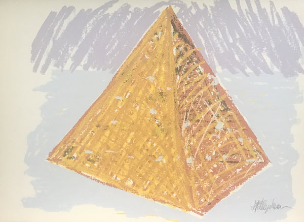 Bert Flugelman 'Pastel Pyramid (Dark Orange Pyramid)' - screenprint on paper