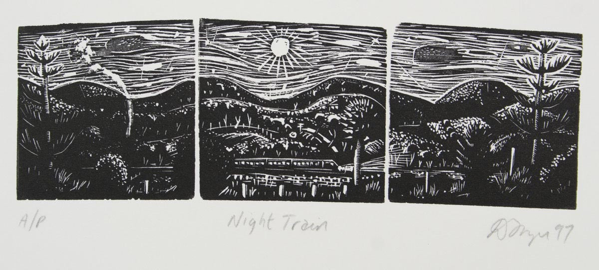 David Frazer 'Night Train' - woodblock engraving on paper - LAST ONE
