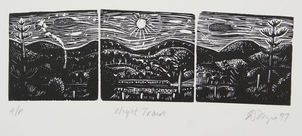 David Frazer 'Night Train' - woodblock engraving on paper