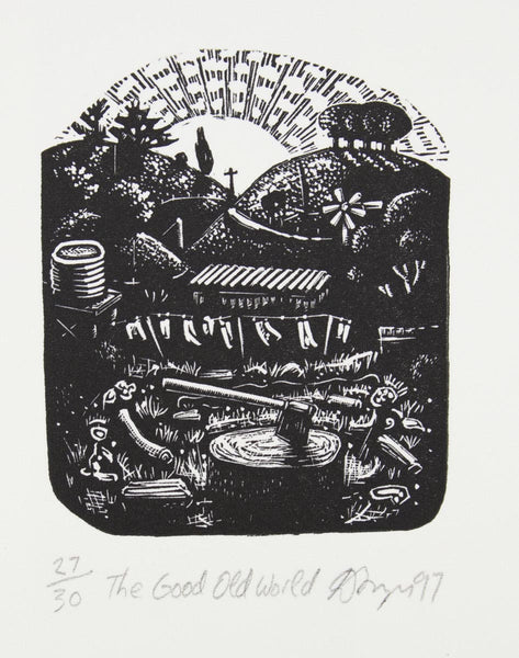 David Frazer 'The Good Old World ' - woodblock engraving on paper - framed