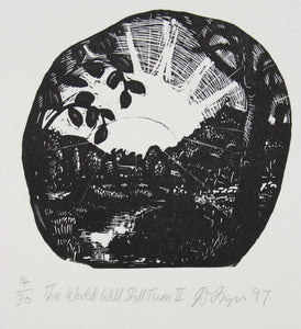 David Frazer 'The World Will Still Turn II' - woodblock engraving on paper