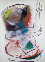 Anne Marie Hall 'Dream Figure with Arms Raised' - charcoal and pastel on paper