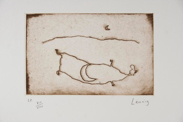 Michael Leunig 'Man and Moon' -RARE EARLY ETCHING