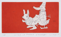 Anthony Lister 'Wind-Up Rabbit Rooter' - Etching on paper