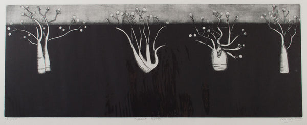 Jeffrey Makin 'Desert Boabs ' - Drypoint Etching