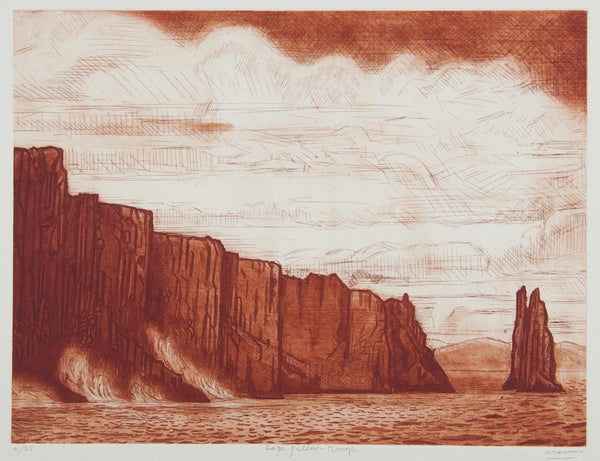 Jeffrey Makin 'Cape Pillar - Rouge' - Etching on paper