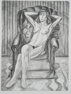 Jeffrey Makin 'Untitled (Nude in Armchair)' - Lithograph on paper