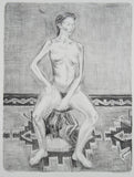 Jeffrey Makin 'Untitled (Nude on Stool)' - Lithograph on paper
