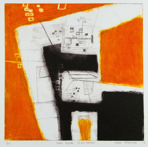 Greg Mallyon 'Over Qatar 12000 Metres' - Etching