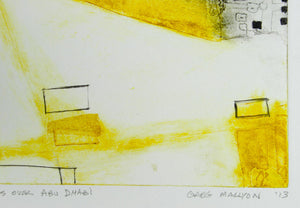 Greg Mallyon 'Villages over Abu Dhabi' - Etching.
