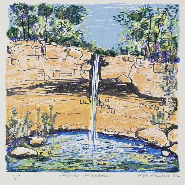 Greg Mallyon 'Tropical Waterfall' - screenprint on paper
