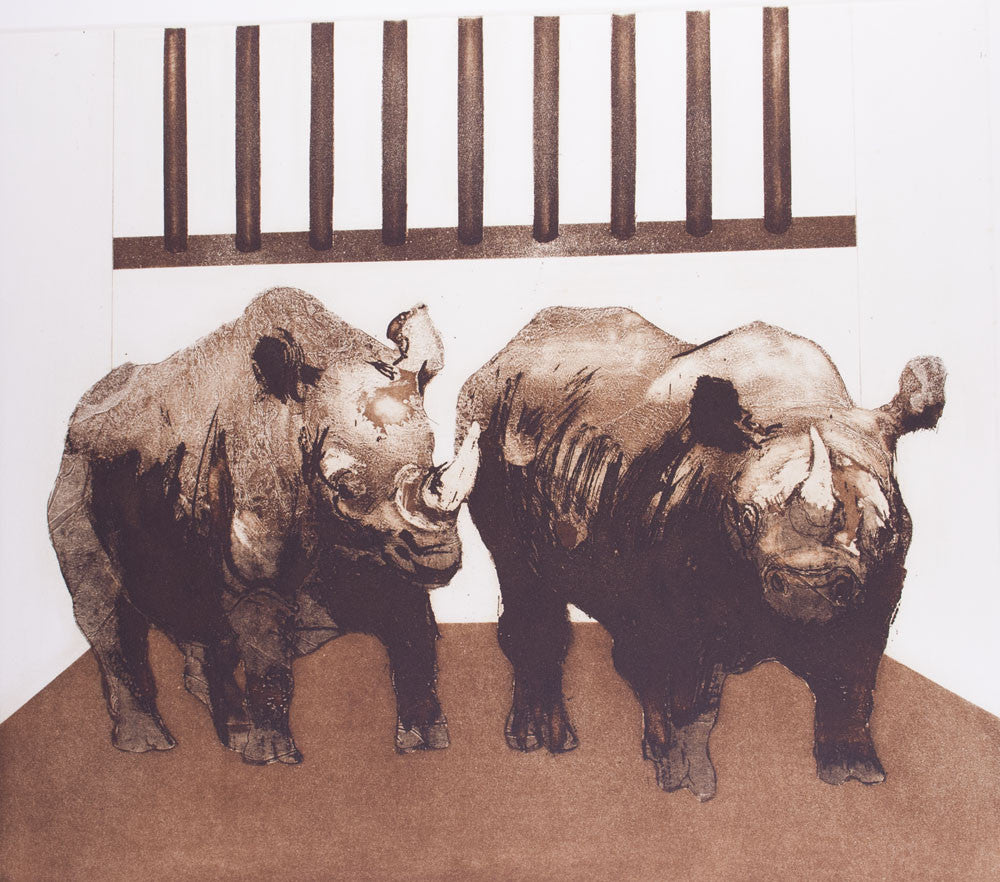 Bettina McMahon 'Rhinoceros at Bay' - etching on paper