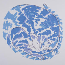 Load image into Gallery viewer, Jan Mitchell 'Willow Pattern Cat' - screenprint on paper