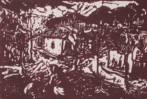 Vic O Connor 'The Bank ' - linocut