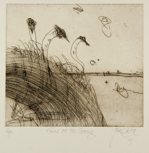 John Olsen 'Emus at the Coorong' - original etching