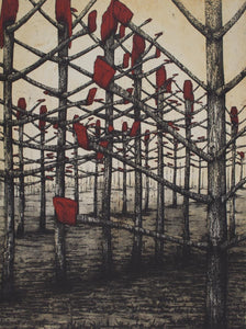 Glenda Orr 'Red Kelly Country' - etching on paper