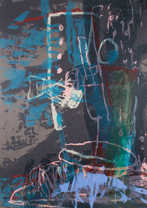 Ann Thomson 'Blue, Teal and Grey Abstract'