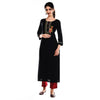 Black Embroidered Cotton Rayon Kurta