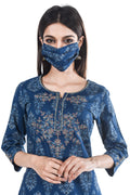 Blue Embroidered Suit Set with Dupatta