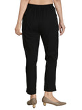 Black Rayon Lycra Trouser For Women