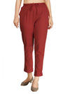 INCOTTONS Maroon Rayon Lycra Trouser For Women And Girls