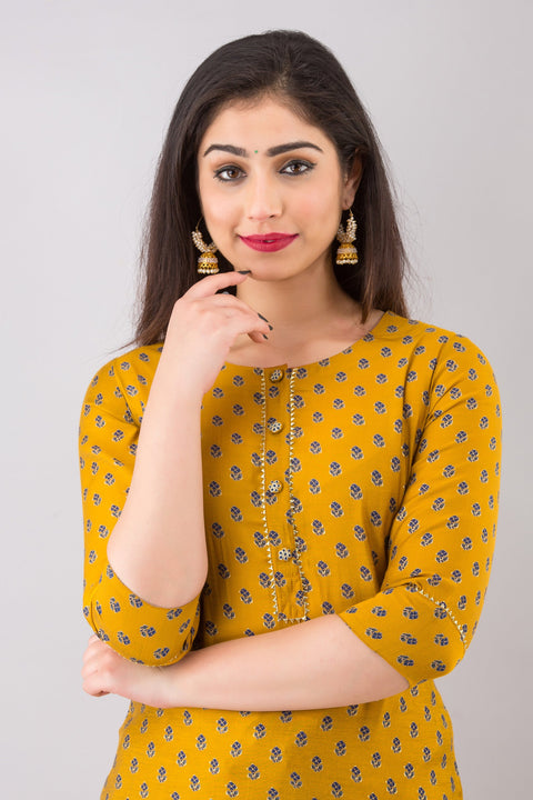 Incottons embroidered yellow kurta