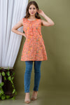 INCOTTONS PREMIUM COTTON ORANGE COLOR PRINTED SLEEVESLESS SHORT TOP