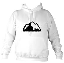 Load image into Gallery viewer, Unisex HOME IS WHERE THE HIGHLANDS ARE HOODIE (nae snow)