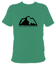 Load image into Gallery viewer, Unisex HOME IS WHERE THE HIGHLANDS ARE TEE (nae snow)