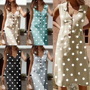 Casual Dot Print Button Damenkleid