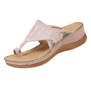 Stickerei Komfy Wedges Sandalen
