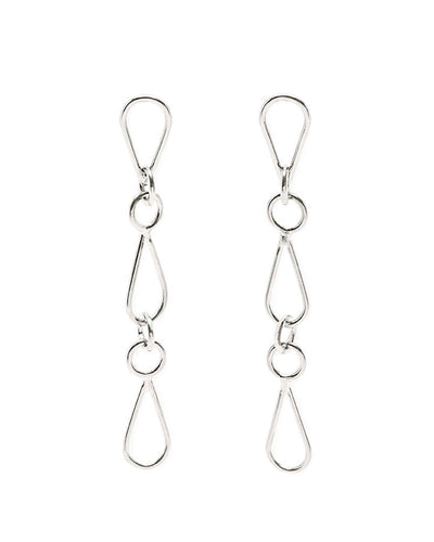 Art deco chain recycled silver earrings | All Its Forms