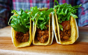 VEGAN CHORIZO AND ROASTED TOMATILLO SALSA TACOS