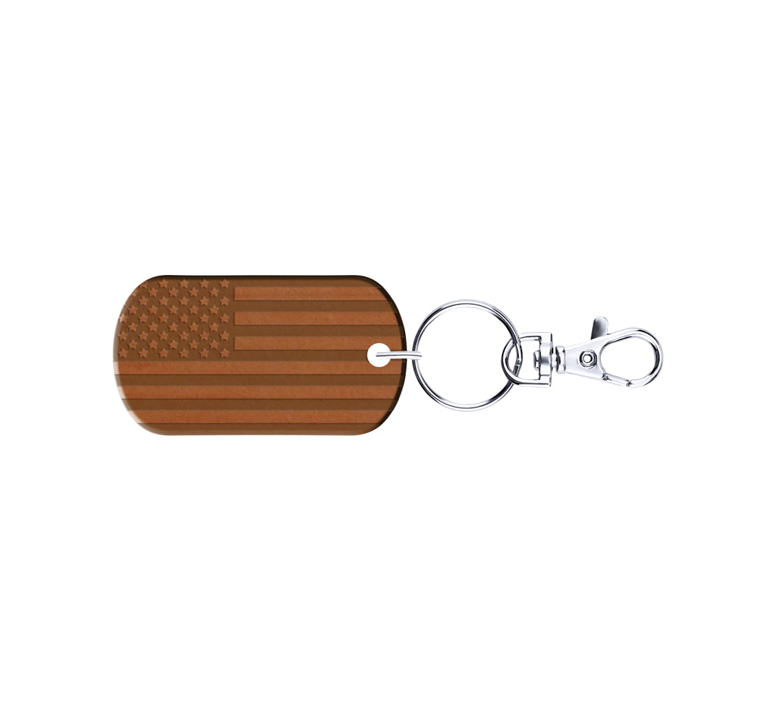 American Flag Wood Wrapped Steel Keychain