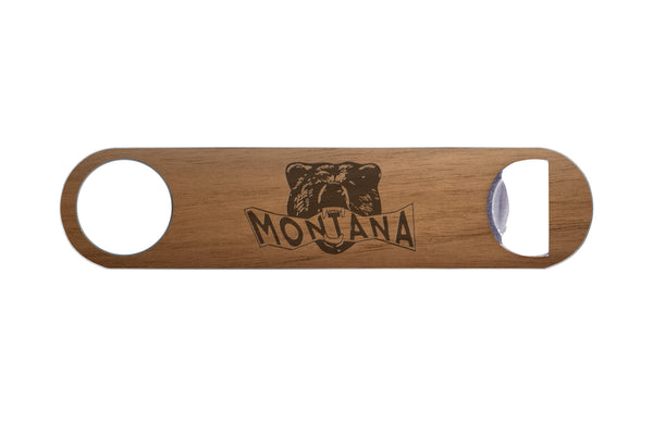 Montana Bear Head Real Wood & Steel Bottle Opener