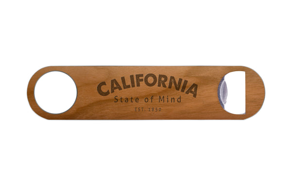 California State of Mind Real Wood & Steel Bottle Opener