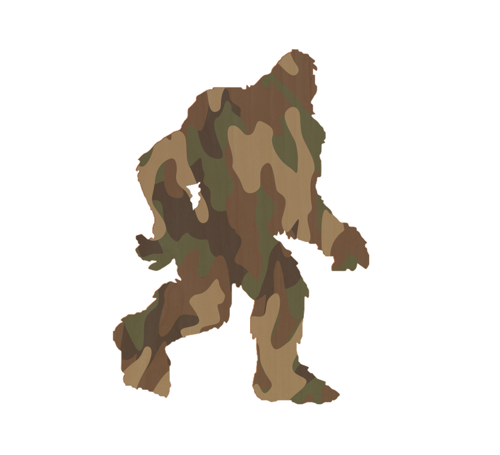 Camo Bigfoot Wood Sticker